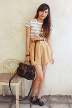 black custom made shoes - beige F&H shirt - camel shopcapricious shorts