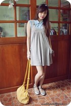 heather gray F&H dress - light blue 11th of October blouse - light yellow Tomato