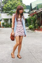 hot pink floral dress - light blue denim 11th of October shirt - dark brown foll