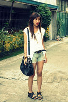 white my stepdads shirt - blue shorts - black Prada Bag - black Natasha shoes -