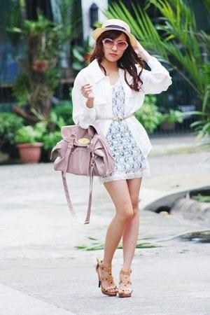 white lace dress - white blouse - camel studded heels