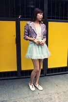 blue just g tutu skirt - purple black manila blazer - white maphisto oxford shoe