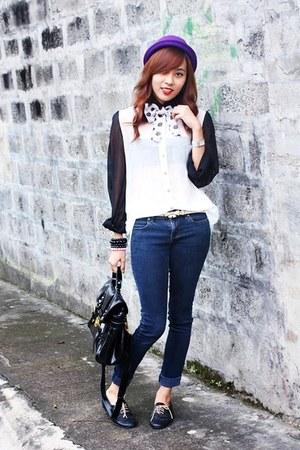 sheer WAGW blouse - Custom-made shoes - Lee jeans