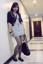 black mags blazer - dept store skirt - black Custom-made shoes - gray random tig