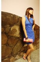 blue dress - pink purse - pink shoes