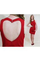 90s Mini Dress Open Heart Back Sleeveless Red Medium M