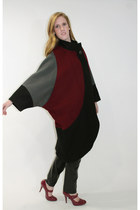 80s Cape Coat Wool Color Block Dolman Sleeves Outerwear Poncho 1980s Free Size