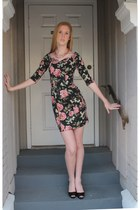 Vintage 80s 1980s Floral Mini Dress Knit Body Con Bandage Grunge Indie Small S