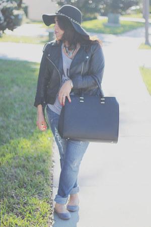 H&M jeans - Target hat - H&M jacket - H&M bag - H&M flats - TJ Maxx t-shirt