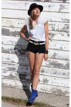 blue Officine Creative boots - black thrifted vintage shorts - ivory altered vin