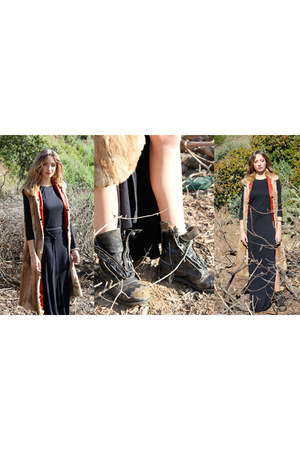 black vintage boots - black AGAIN dress - dark brown vintage fur vest