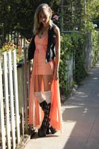 black thrifted vintage boots - salmon UNIF dress - black improved vest