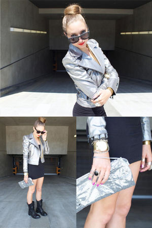 silver Rock & Republic jacket - black American Apparel dress - black vintage sho