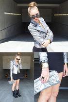 silver Rock & Republic jacket - black American Apparel dress - black vintage sho