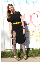 black AGAIN dress - black Mokesha tights - black Isaac Sellam purse - gold thrif