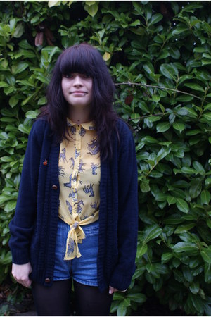 blue thrifted shorts - navy EWM cardigan - mustard H by Henry Holland blouse