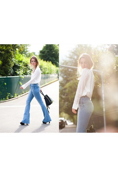 light blue H&M jeans - black Moschino bag - white H&M blouse