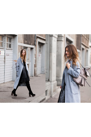 black Topshop shirt - black Top Shop boots - sky blue Top Shop coat