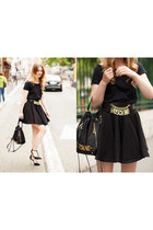 black Big nur Zurich shirt - black Moschino bag - black sam edelman heels