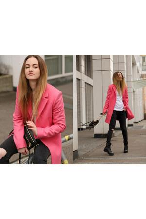 black vagabond boots - hot pink balenciaga coat - black Bershka jeans