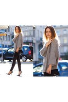 heather gray Selected sweater - charcoal gray pieces jeans