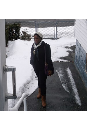 i love jesus scarf - side zip Steve Madden boots - Old Navy coat