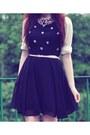White-sequin-collar-oasap-shirt-black-chiffon-local-boutique-dress