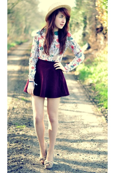 floral Primark blouse - boater Primark hat