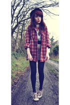 ruby red Camden Market coat - black hat - sky blue pull&bear shirt