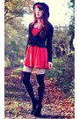 Red-oasap-dress-black-urban-outfitters-hat-black-overknee-new-look-socks