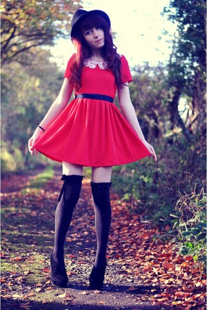 red OASAP dress - black Urban Outfitters hat - black overknee new look socks