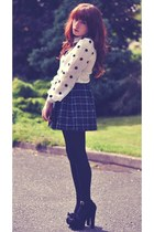 polka dot BangGood shirt - plaid American Apparel skirt - Nasty Gal heels