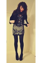 black embellished Miss Selfridge dress - black embroidered mummy jacket