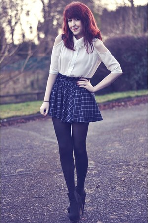 navy circle PERSUNMALL skirt - black ankle boots Primark boots