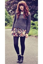 floral OASAP skirt - black ankle H&M boots - white heart print Primark shirt