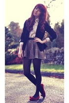 black velvet Secondhand blazer - ivory Dorothy Perkins shirt