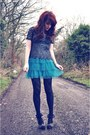 Turquoise-blue-polka-dot-h-m-dress-silver-lace-river-island-top