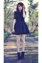 black Jones  Jones dress - black suede Primark wedges