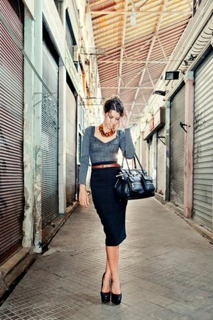 Max Mara bag - Jessica Simpson shoes - Max Mara skirt - YSL ring