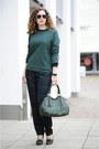 Forest-green-leather-miu-miu-bag-forest-green-sweater-diy-jumper