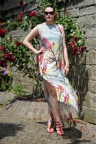 ruby red studded Stadivarius bag - aquamarine maxi dress DIY dress