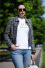 White-asos-bag-light-blue-boyfriend-h-m-jeans-black-boucle-laurèl-jacket