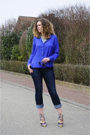 navy skinny H&M jeans - blue silk H&M blouse - aquamarine bubbles Ebay necklace