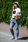 Light-blue-h-m-jeans-tan-straw-h-m-hat-off-white-black-dot-soliver-shirt
