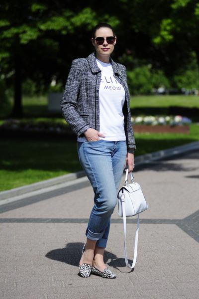 white asos bag - light blue boyfriend H&M jeans - black boucle Laurèl jacket