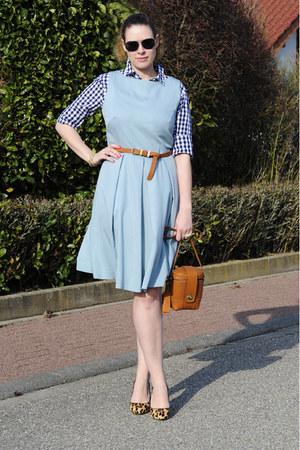 tawny camera bag Zalando collection bag - turquoise blue pleated DIY dress