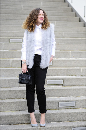 heather gray feather SOliver vest - black boucle Mango bag - black DIY pants
