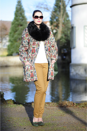 crimson DIY coat - black faux fur Ebay scarf - forest green leather Miu Miu bag