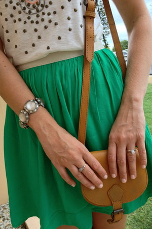 emerald green Topshop skirt - Aldo bag - Forever New top