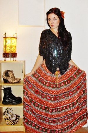 Indian skirt - Jeffrey Campbell boots - Dr Martens boots